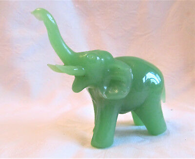 """Vintage Green Solid Glass Faux Jade Elephant Figurine 3.5"""" Tall"""