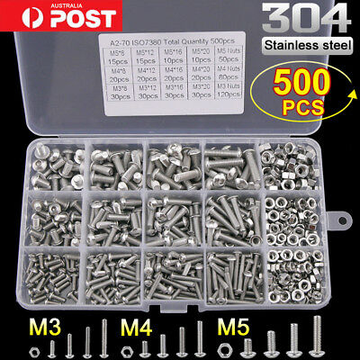 500pc M3 M4 M5 304 Stainless Steel Hex Button Head Bolts Screws Nuts Kit Set New