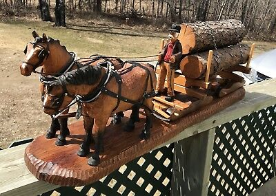 Old Time Logging Hand Carved Working Draft Horses