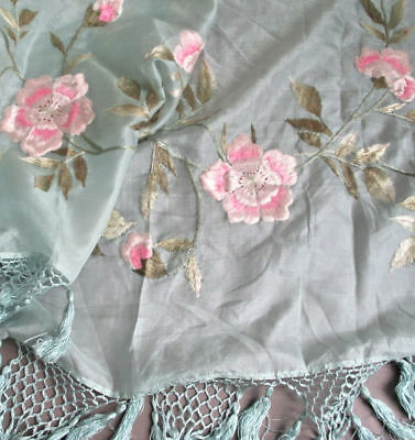 """Antique Sky Blue SILK Hand Embroidered SHAWL Pink ROSES 96""""X31"""" w Knotted FRINGE"""
