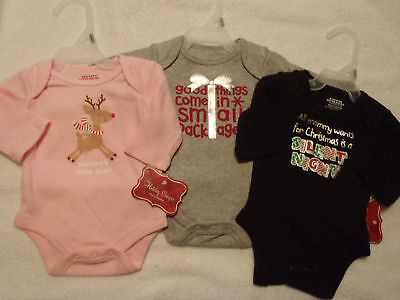 Baby Girl Boy Holiday Christmas Bodysuit Choice Grey Blac Size Newborn NWT
