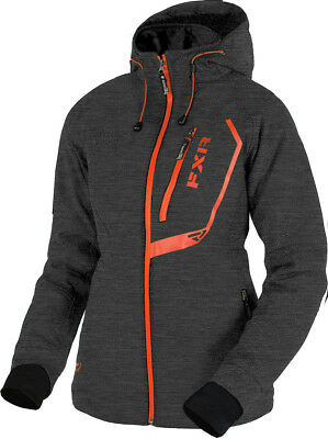 FXR Womens Charcoal Heather/Electric Tangerine Vertical Pro Softshell Jacket
