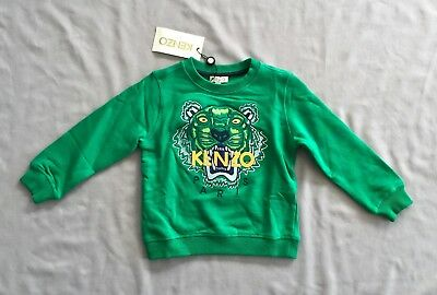 54e5fec716f3 NWT KENZO Kids GREEN TIGER LOGO SWEATER   SWEATSHIRT 3 yrs SZ 3A 98 BOYS