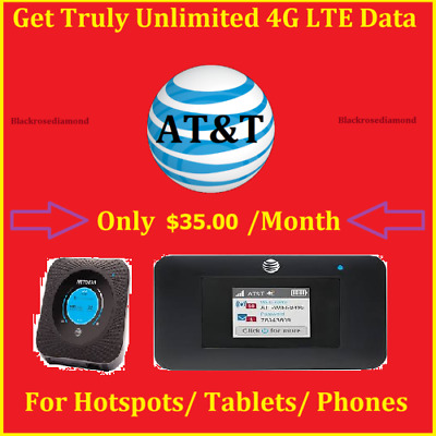 Unlimited HOTSPOT DATA AT&T 4G LTE 100% Unlimited For Hotspots / Tablets/ Phones