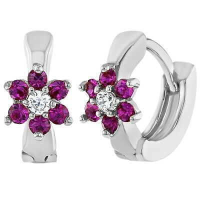 Rhodium Plated Hot Pink Crystal Flower Huggie Small Hoop Earrings for Girls