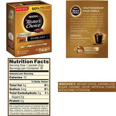 Nescafe Taster's Choice Instant Coffee Beverage, Hazelnut,16 - 0.1 oz packets(Pa