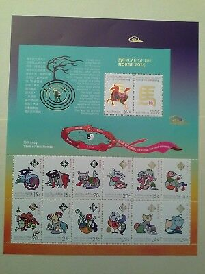 Christmas Island stamp sheet Year of the Horse 2014, 14 stamps mint NH