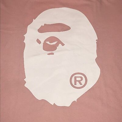 038ecf5c PRE-OWNED BAPE A Bathing Ape Pink Big Face Logo T-shirt Large Size ...