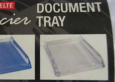 DOCUMENT TRAY A4 FRONT OPEN, ESSELTE GLACIER Clear, STACKABLE  ~ Brand New