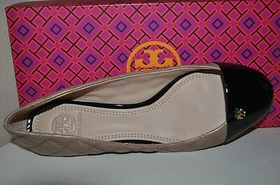 d43bc6731d25 NIB Tory Burch CLAREMONT Ballet Flat Shoe Clay Beige   Black Quilted Leather  S 9