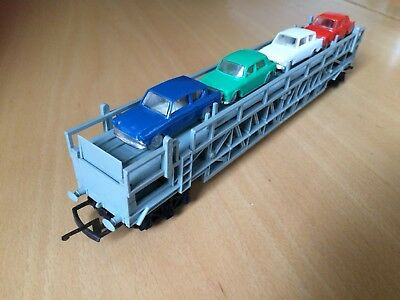 TRIANG HORNBY R342 CAR TRANSPORTER CARRIER WITH 5 MINIX CARS OO Gauge
