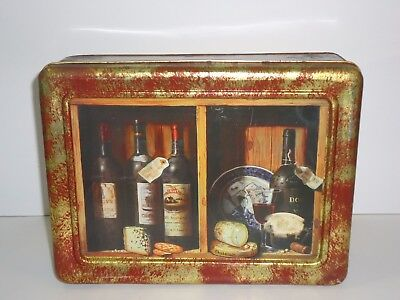 T13141 Embossed Wine & Cheese  Empty Biscuit Tin  1998 ?