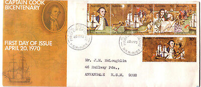"1970 FDC. Captain Cook Bicentenary. APO cover. Neat address. FDI ""ROYAL EXCHANGE"