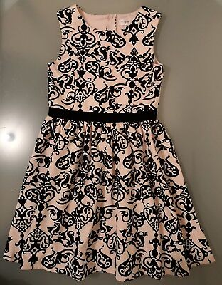 Origami girls pale pink with black velvet party dress size 14