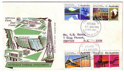 "1970 FDC. National Development. Set on WCS cover. FDI ""ADELAIDE"""