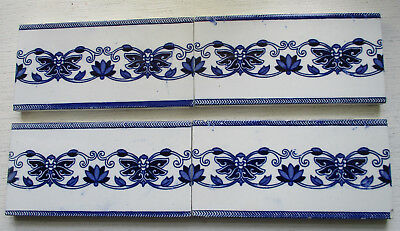 4 Victorian Blue And White Spacer Tiles