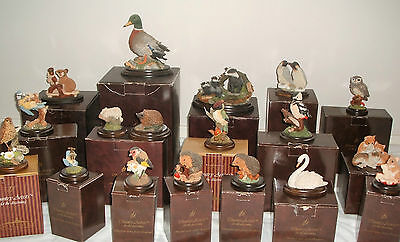 Job Lot 18 Country Artist Figures Badgers Mallard Kittens Swan Owl With Boxes