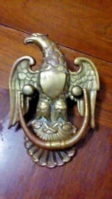 Old Antique Vintage Brass Eagle & Shield Shell Door Knocker