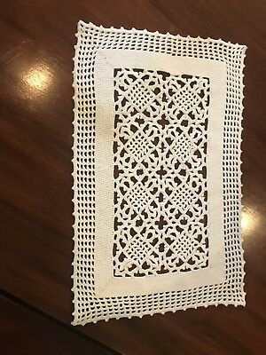 Eight Antique Hand Crocheted Lace Patterned Edwardian Era White Placemats