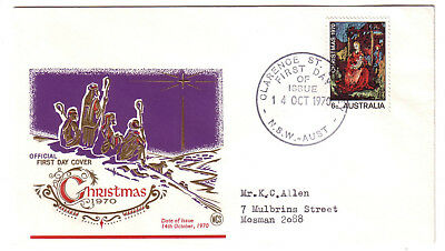 "1970 FDC. Christmas. WCS cover. FDI ""CLARENCE ST."" Nice cover."