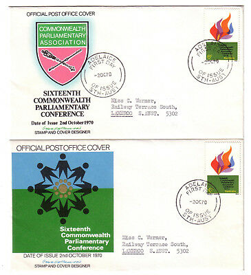 "1970 FDC. Commonwealth Parliamentary Association. 2 x APO covers. FDI ""ADELAIDE"""