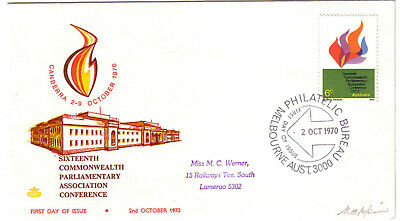 1970 FDC. Commonwealth Parliamentary Association. Royal cover.