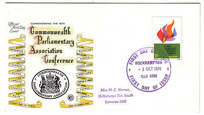 "1970 FDC. Commonwealth Parliamentary Association. WCS cover. FDI ""ROCKHAMPTON"""