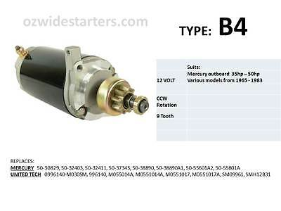 Mercury starter motor suits 35hp-50hp from 1965-1983