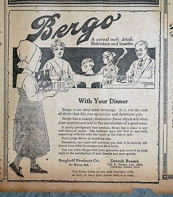 Ft Wayne Indiana Berghoff Bergo Prohibition Beverage Ad - 1918 Newspaper Page