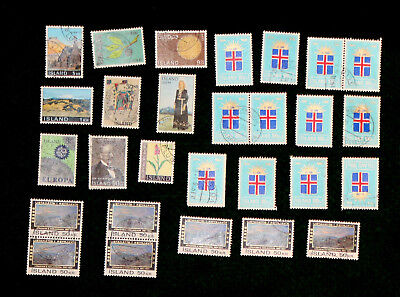 27 ICELAND / ISLAND STAMPS FROM 1960s & 70s VF USED UH