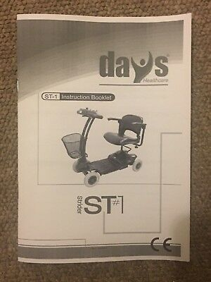 Days Medical Strider ST1 ST-1 Mobility Scooter Owner's Manual Instructions Guide