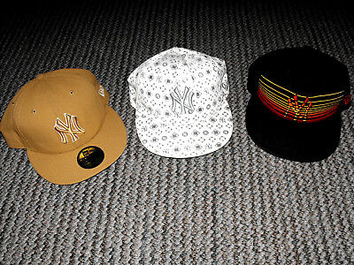 Vintage - New York Yankees - New Era 59Fifty - Fitted Hats - Lot Of 3