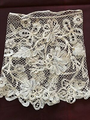 """ANTIQUE NEEDLE DUCHESSE LACE piece (CUFF) 12"""" by 6 1/4"""""""