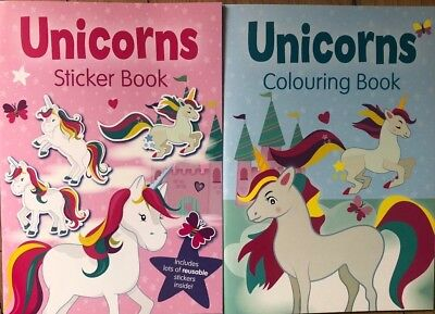 ** Unicorns Colouring Book & Reusable Sticker Book New Girls Party ** Kids Craft