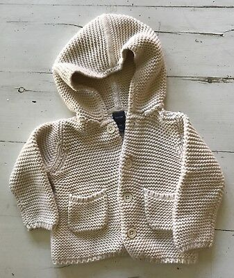 Baby Gap Off White Knit Sweater Coat Sz 6-12 Months Button Down Hooded Jacket