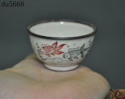 Old China Chinese antique bronze Cloisonne fish goldfish statue Tea cup Bowl