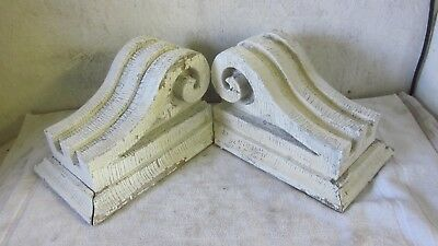 2 Antique Beefy Solid Victorian Brackets Architectural Salvaged Corbels