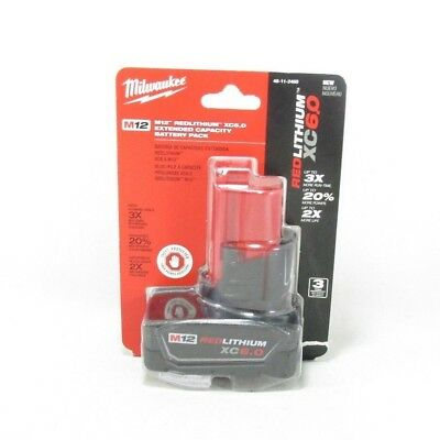 Milwaukee 48-11-2460 M12 Lithium-Ion 6 Amp Hour Extended Capacity Battery Pack
