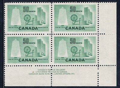 Canada #334(41) 50 cent Textile Industry LOWER RIGHT PLATE BLOCK#1 MNH CV$30.00
