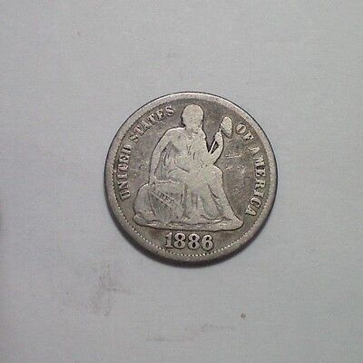 1886 S Seated Liberty Dime Vg Tougher Date
