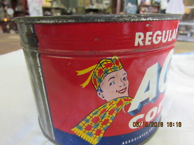 Vtg AG Coffee Tin Can Key Attatched Country Store Primitive Scottish No Lid