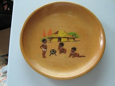"Vintage Hand Painted Folk Art Wooden Wood Plate 8"" Dia African Babies"