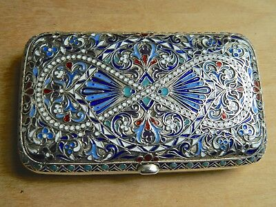 Antique Russian Imperial Silver & Enamel Cigarette Case