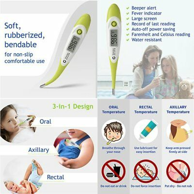 Clinic digital waterproof thermometer - baby adult  oral axilliar rectal safe