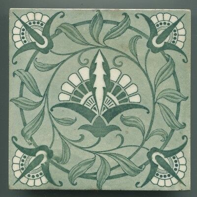 """Transfer Printed 6"""" square Victorian tile by Wedgwood, c1885"""