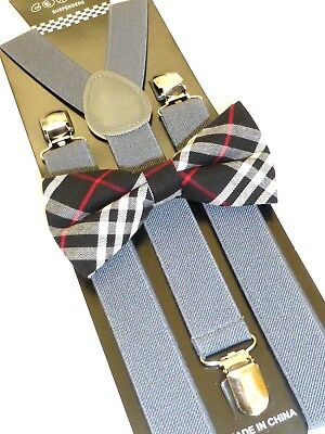 New Navy Blue Bow Tie and Gray Suspender set Tuxedo Formal Men's USA SELLER