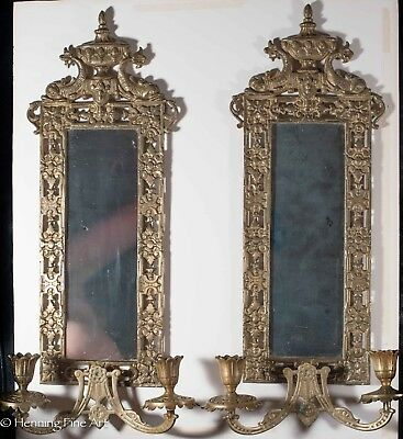 Pair of Antique Victorian Brass Mirrors with Candle Sticks in Beautiful Cond!