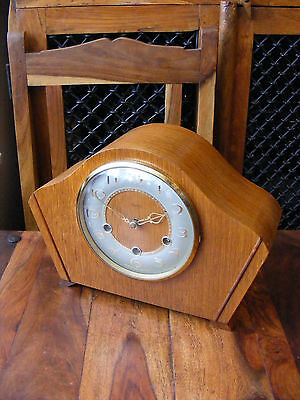 Antique Vintage Smiths K6A Westminster Chimes Mantle Mantel Clock Wooden Case