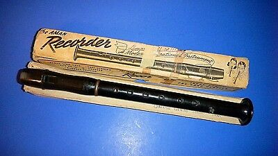 "Vintage AMAN Recorder - key of ""C"" - Box marked Odense (KS) Grade School 1941"