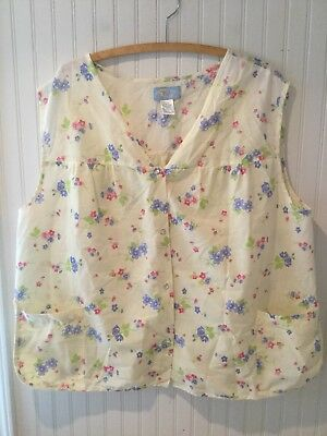 Vintage Muumuu Smock Shirt Button Front Yellow Floral EUC 4X Housecoat Top